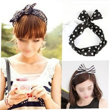 2017 Hot Sale 1Pcs Sweet Bunny Rabbit Ear Ribbon Metal Wire Wide Headband Hair Scarf Band 7 Styles foulard cheveux