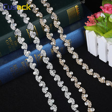 1 Yard 0.51 Inches Waves Crystal Rhinestone Trims Rhinestone Applique for Wedding Dresses Gold/ Silver Sew on