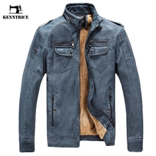 KENNTRICE Men's Leather Jacket Winter Coat Male Jaqueta Couro Masculinas Inverno Pu Sheepskin Coat Motorcycle Leather Jacket