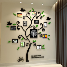 New arrival Happy tree photo frame crystal wall stickers Acrylic three-dimensional wall stickers entranceway photos of wall sofa(China)