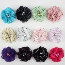 New 2015 Baby Hair Product DIY 2'' Mini dot Chiffon Flowers With Pearl Rhinestone Children Accessories 30PCS/LOT Free Shipping