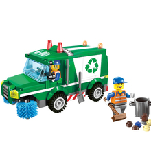 196pcs City Road Sweeper Blocks Toys for Children Rubbish Truck Assembled Plastic Building Blocks Toys for Children K0199-1111(China)