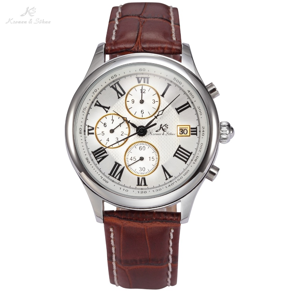 IMPERIAL KS Silver Stainless Steel Case Retro Skeleton Hands Sun Satin Finish Day Month Display Brown Leather Strap Watch /KS144<br>