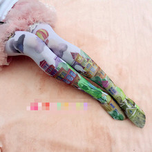 Buy Princess sweet lolita pantyhose Department soft sister cute LOLITA cartoon printing landscape tights LKW208