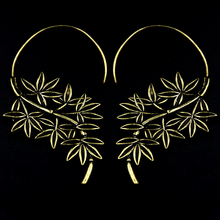 New Fashion Big Large BrassTribal Indian Antique Bamboo Hoop Earrings Hip hop for Women 1.35mm Thickness Fake Ear Plug Piercing