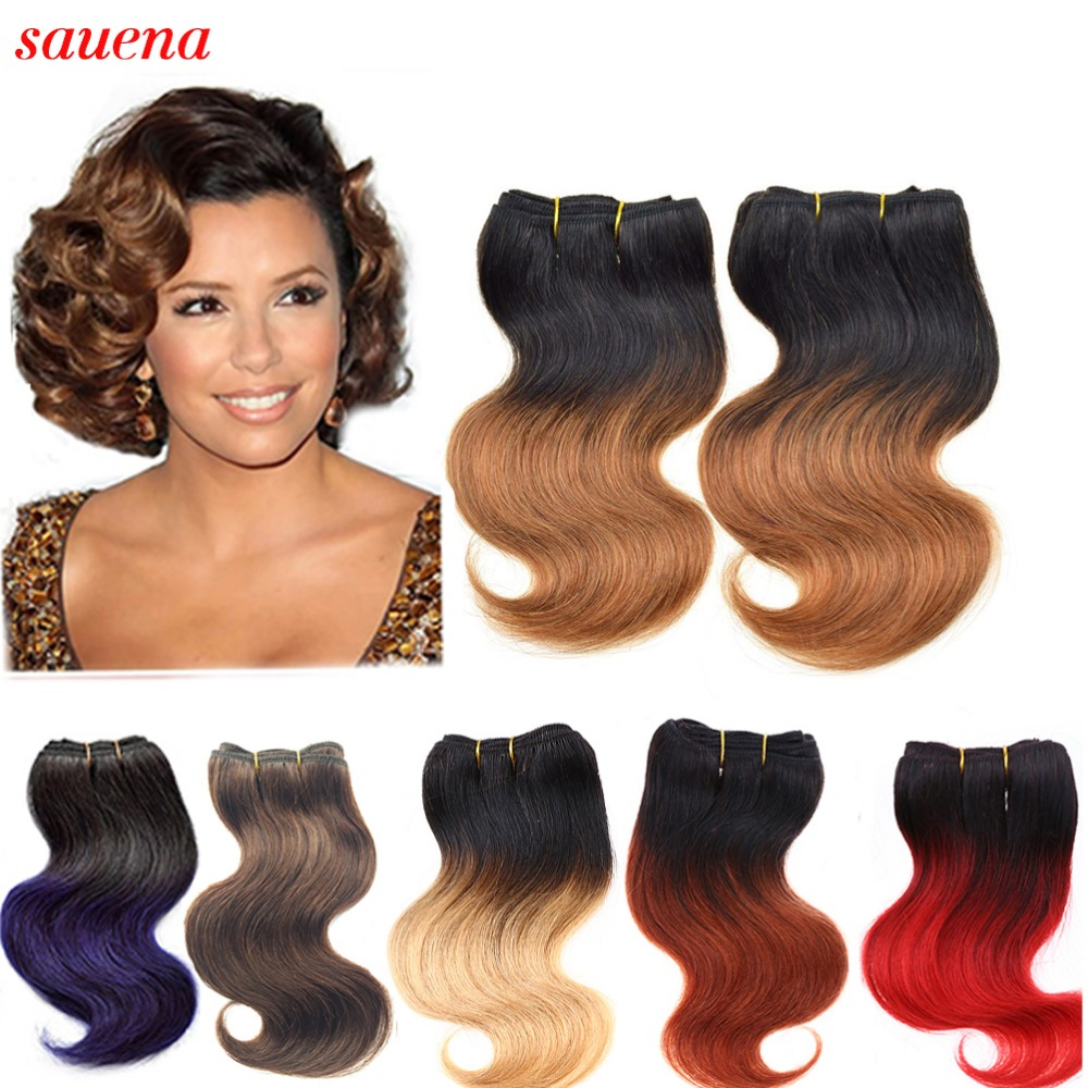 Short Size Brazilian Virgin Hair 8Inch Body Wave Ombre Bundles Weave 2Bundles/lot 50g/Bundle 100% Human Hair Extensions<br><br>Aliexpress