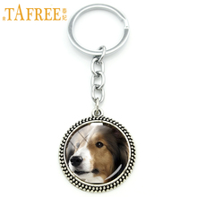 TAFREE Innocent sheltie Key Chain cute interesting dog Keychain 2017 new arrival for women Rhodium Plated novelty jewelry DG38