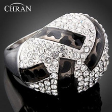 CHRAN Rhodium Plated Costume Women Jewelry Elegant Gifts Fashion Crystal Enamel Finger Rings for Women