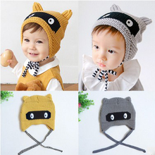 Baby Hat New Arrival Children Knitted Hats Winter Keep Warm Crochet Cap Girls Boys Eyes Pattern Free Shipping Drop Shipping