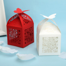 Brand quality 50pcs/lot free shipping laser cut rose butterfly wedding candy box favor box supplies