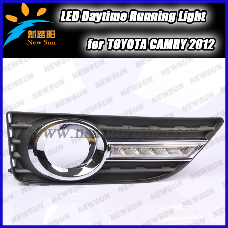 high power daytime running light with fog lamp cover for 2012 Toyota Camry car led drl daytime lights super bright<br><br>Aliexpress