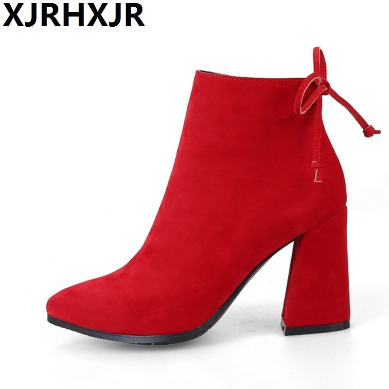 XJRHXJR Autumn Winter Fashion Shoes Woman Flock Suede Leather Boots Ladies Thick High Heel Ankle Boots Party Shoes Size 33-43<br>