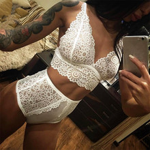 Buy Sexy Underwear Women Lace Sexy Bra Set Female Transparent Intimates Plus Size Sexy Erotic Lingerie Bralette Underwear Panty Set