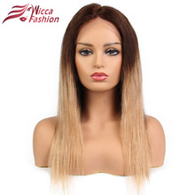 Glueless Full Lace Wig With Baby Hair Pre Plucked Remy Ombre Blonde Human Hair Wigs Bleached Knots Brazilian Hair Dream Beauty(China)
