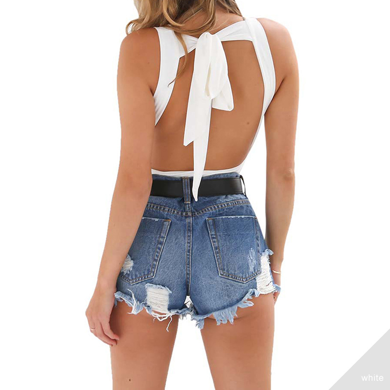 Pink-Queen-Deep-V-Neck-Summer-Bodysuit-Sexy-Halter-Sleeveless-Bodycon-Rompers-White-Body-Straps-Backless