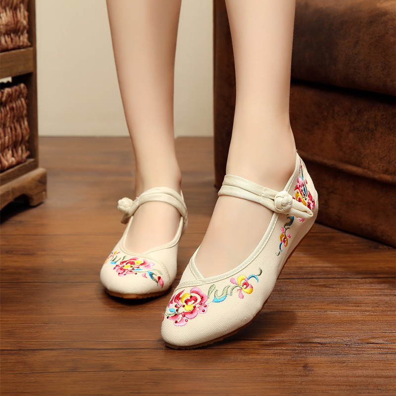 Women Flower Embroidery Cotton Shoes Pointed Toe Mary Jane Ladies Chinese Style Casual Beijing Soft Walking Flats Zapatos Mujer<br><br>Aliexpress