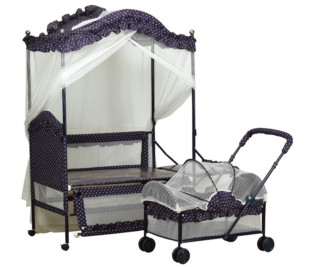 Quality Baby Iron Crib with Cradle(Cradle also as Stroller) with Mosquito Net &amp; music/Xmz 9880-CyeT6<br><br>Aliexpress