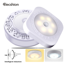 Elecshion LED PIR Sensor Night Wall Light Motion Activated lamp Wireless Infrared Panel Emergency Human Body Sensing 6 LED Bulb(China)