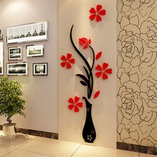 Beautiful Designed 3D Red Plum Flower Vase Acrylic DIY Art Sticker Wall Stickers Vinyl Decal for Home Room TV Decor Christmas