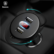 Baseus Car Charger Digital LED Display Mobile Phone Charger Dual USB Fast Car Charger iPhone Samsung Tablet Car-Charger