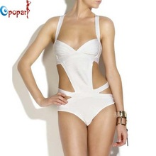 For Apac Region Sexy Hollow Out One Piece Bandage Swimsuit Halter White Black HL Paris Beach swimwear women Elastic HL