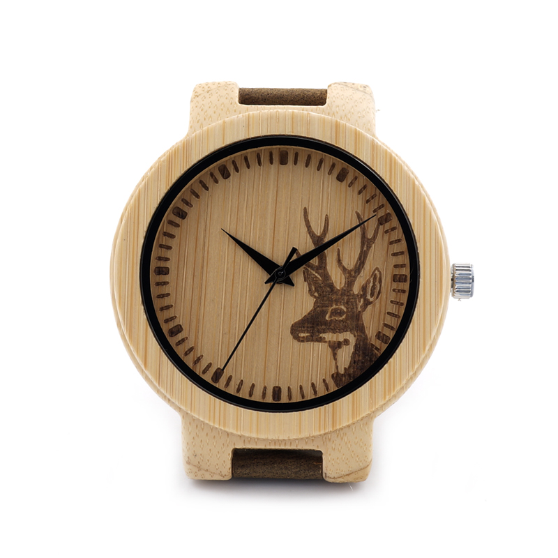 BOBO BIRD D14 Engraved Deer Wooden Watch Mens Quartz Japan Movement 2035 Wristwatch with Leather Strap in Gift Box<br><br>Aliexpress
