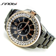 Bling Rhinestone SINOBI Luxury steel Quartz Watch Women Clock female Ladies Dress Wristwatch Gift Silver Gold 2017 relojes mujer(China)