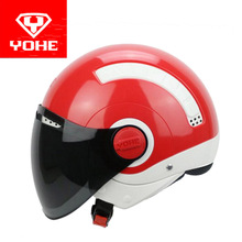 2017 Summer New ABS YOHE Half cover motorcycle helmet MINI half face motorbike Electric bicycle helmets PC 9 colors size M L XL(China)
