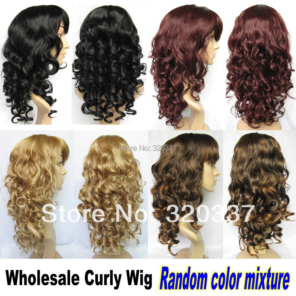 Wholesale Curly Wig Hair 4pcs/lot Full Head Wigs Synthetic Hair Wig Extensions Synthetic Wigs for Women 4Colors Free Shipping<br><br>Aliexpress