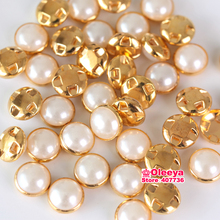 10mm 100pcs Sew-On Pearl Buttons Side Hole Plastic Imitation Pearls Button Sewing Accessories For Clothing Y3702(China)