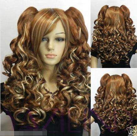 ePacket Free shipping Hot sell! Fashion new Brown Long 2 Clip-On Ponytail Wavy Curly Hair Full Wig<br><br>Aliexpress
