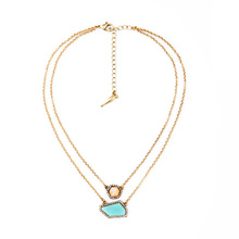 2015 Brand New Simple Design Accessory Women Daily Light Blue Irregular Gem Pendant Two Chains Necklace