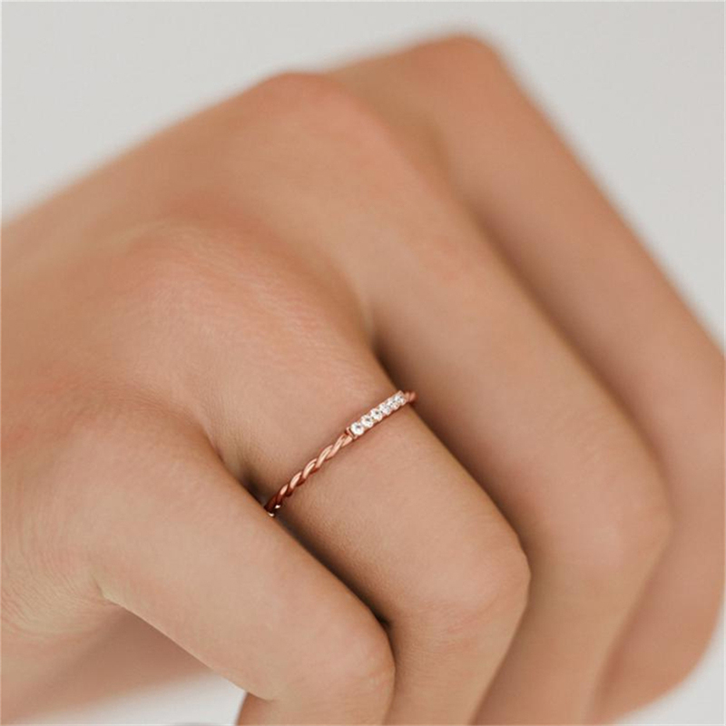 Rose Gold Color Twisting Design Cubic Zircon Finger Ring for Women Wedding Engagement Jewelry Gift C25