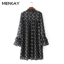 [MENKAY] Europe And The United States Wind 2018 Spring New Fashion Wild Lotus Leaf Flower Dress Female(China)