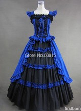 Custom Made Cheap Royal Blue and Black Elegant Gothic Victorian Prom Lolita Dress Costume Free Shipping free shipping