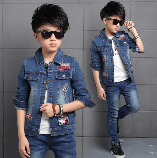 Fashion Printing Kids Clothes Boys Autumn Ensemble Garcon Long Sleeve Boys Denim Coat And Jeans Outfits Children Clothing Sets <br><br>Aliexpress
