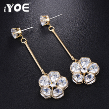 IYOE Luxury Crystal Flower Earring Stylish Jewelry Women Long Chandelier Dangle Earrings Gold Color Wedding Party Gifts