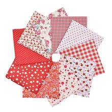 FUNIQUE 10PCs Flower Fabrics For Patchwork Dress Dolls DIY Craft Kids Clothing Sewing Cotton Fabric For Needlework 20x20cm
