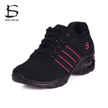 2017 New Modern Dancing Shoes For Women Mesh Breathable Low-heeled Jazz Square Dance Shoes Ladies Sneakers Women Platform Shoes(China)