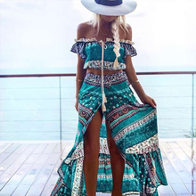 Bohemian Ensemble Femme Beach Tracksuit Print Crop Top And Long Maxi Skirt Two Pieces Casual 2017 Off Shoulder Women Sets