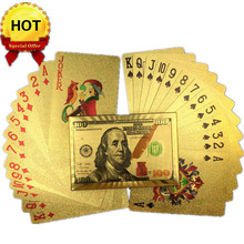 US Dollar Design Gold Poker Plastic Waterproof Playing Cards For Gambling Board Game Poker Cards High Quality WYQ(China)
