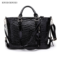 MIWIND(MIWIND)The new crocodile grain female bag leather patent leather laptop bag air bag shoulder aslant package of woman