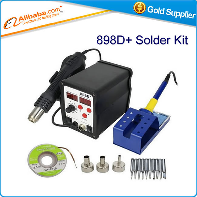 Hot selling 898D+ 2 in 1 SMD Rework Soldering Station Hot Air Gun Welder ESD Tips BGA Nozzles KIT Solder Wire<br><br>Aliexpress