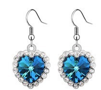 Refined luxury crystal blue Austria Haiyangzhixing long earrings women love jewelry wholesale   free shipping