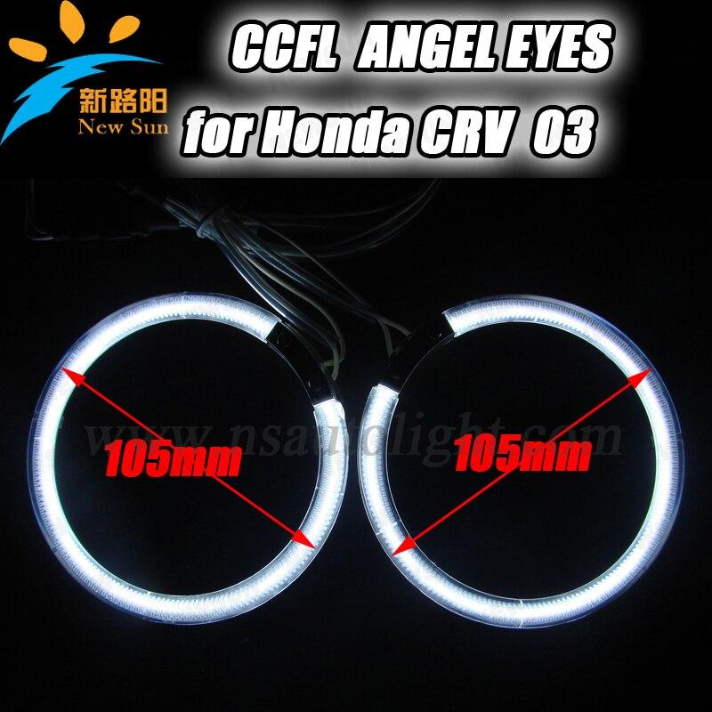 8000K Super bright CCFL angel eyes 4 pcs halo rings 105mm full circle halo ring bulbs ccfl car headlights for Honda CRV 03<br>