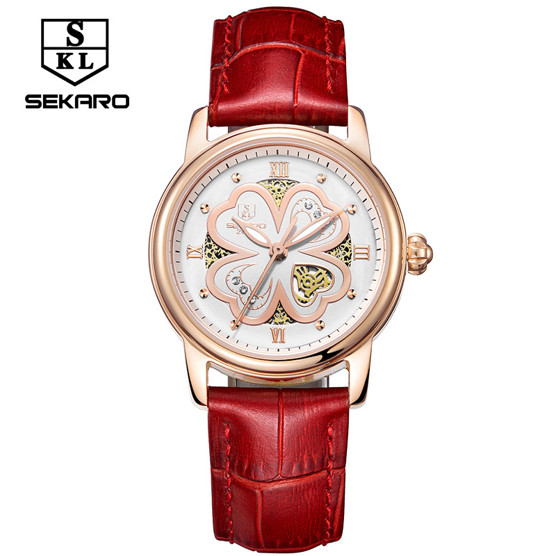 sekaro watches woman quartz watch four leaf grass love fashion belt bracelet table top brand waterproof hollow ladies new watch<br>