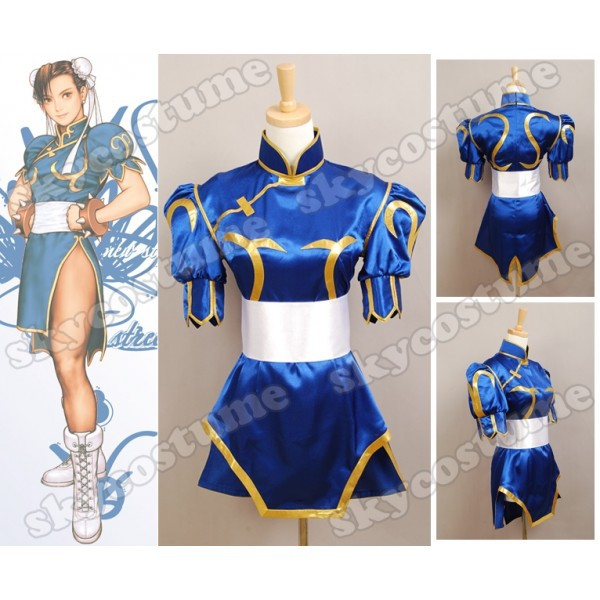 Street Fighter Game Chun Li Costume Chunli Dress Blue Outfit Headpiece Women Cosplay Uniform