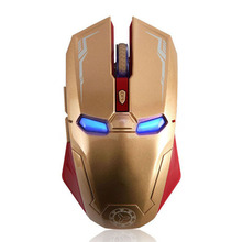 Iron Man Rechargeable Mouse Wireless Gaming Mouse Sem Fio 2400DPI Adjustable Computer Games Mice For Pc Laptop Play LOL CSGO(China)
