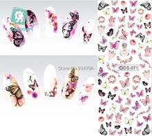 Rocooart DS071 Nail Design Water Transfer Nails Art Sticker Colorful Butterfly Nail Wraps Sticker Watermark Fingernails Decals(China)
