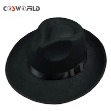 Cosworld Michael Jackson Hat Stage Show Cap Fedoras Concert Dance Fedoras Classic Solid Black Wide Brim Jazz Gentleman Hat